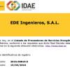 EDE Ingenieros, en el listado de proveedores de Servicios Energéticos del IDAE