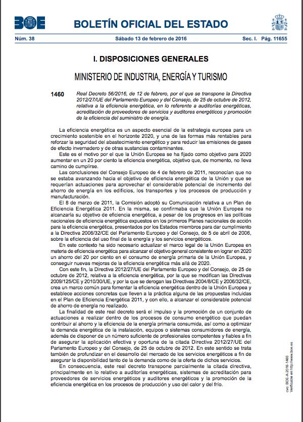 Real Decreto 56/2016
