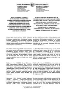 Aclaración sobre los plazos del decreto 254/20 y ley 4/19 que coinciden con el estado de alarma de 2020